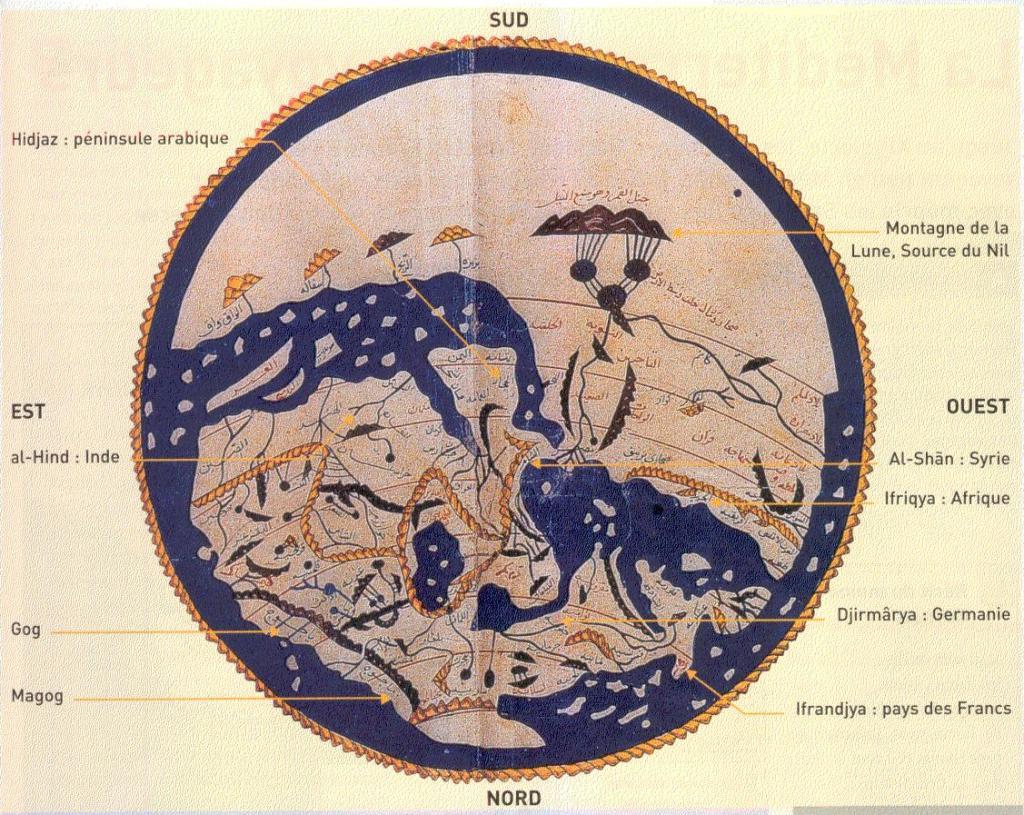 mappemonde d'Idrisi milieu XIIe siècle